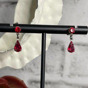 Express Small Silver Red Crystal Teardrop Earrings